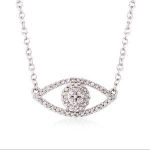 Ross Simons Evil Eye White Gold Necklace